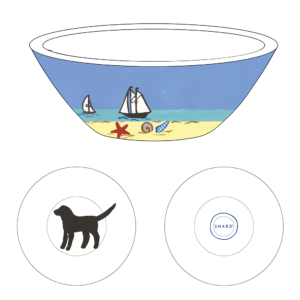 Graphic of Small round tasting bowl – 4″ x 1.25″ with beach dog black