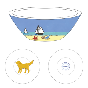 Graphic of Small round tasting bowl – 4″ x 1.25″ with beach dog yellow