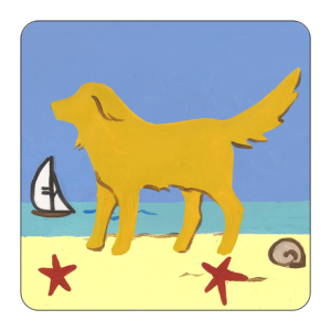 graphic of 4 Piece Earthenwear Coaster Set with yellow dog at beach design