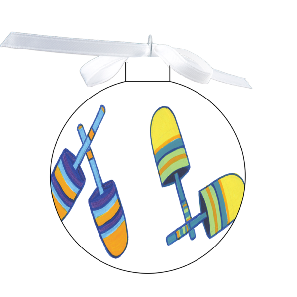 photo of the 80mm Ornament with Colorful Buoys (3 sets) on white design