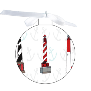 photo of the 80mm Ornament Fully surrounded with Lighthouses (4) over anchor design