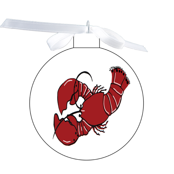 photo of the 80mm Ornament with Lobster design on each side over white
