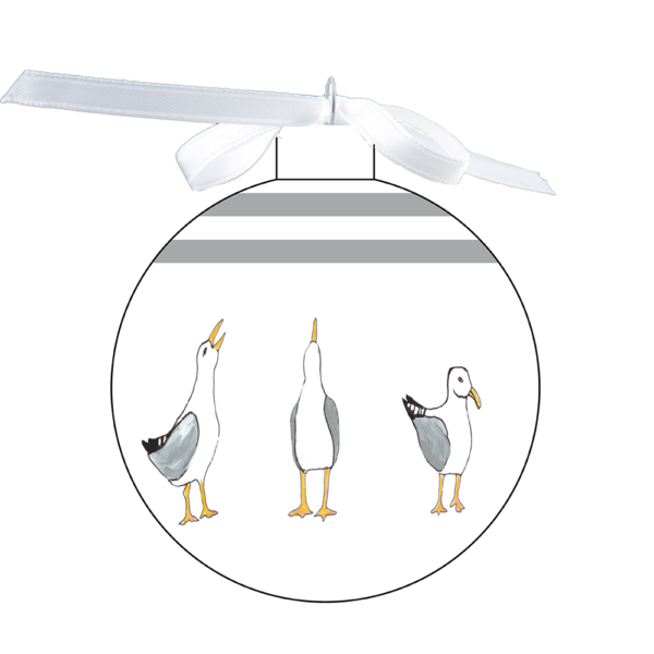 photo of the 80mm Ornament with Seagulls design with upper coordinating stripes