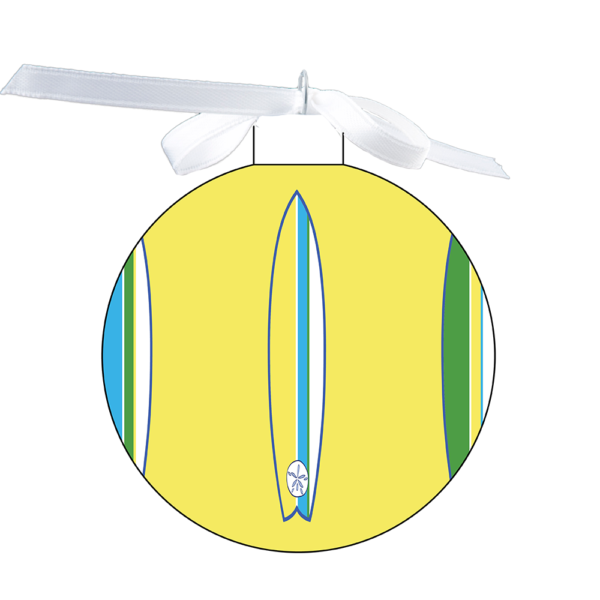 photo of the 80mm Ornament with a Surfboards with starfish design over coordinating yellow