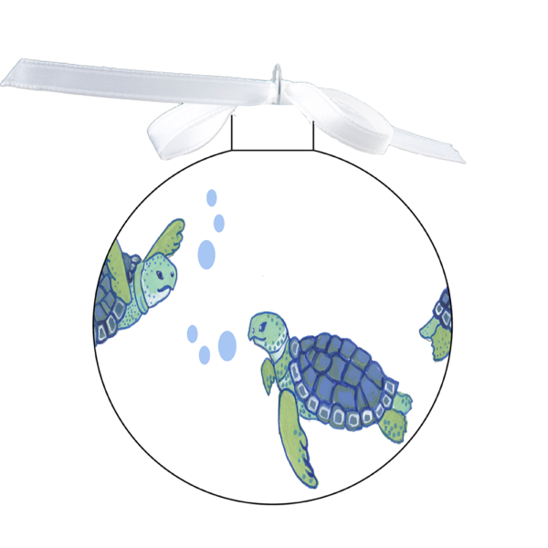 photo of the 80mm Ornament with a Swimming Turtles design