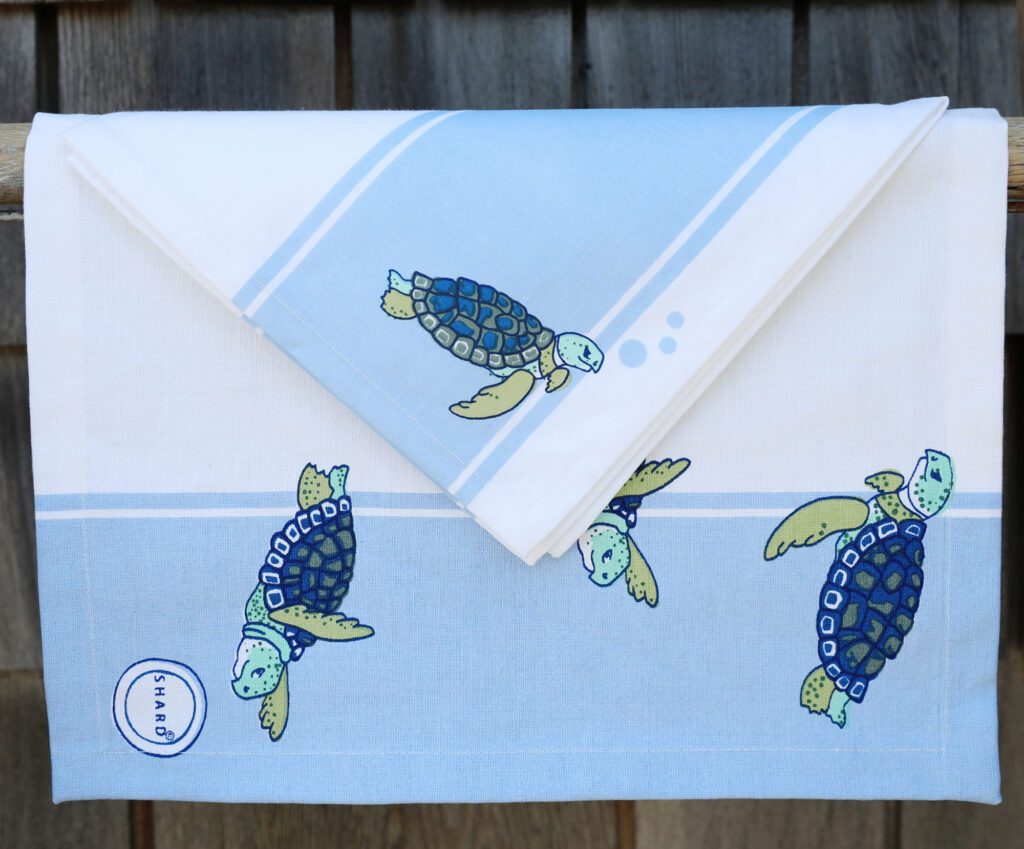 photo of a kitchen towel with a turtle design